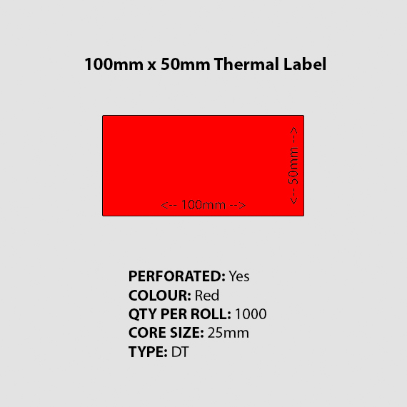100mm 50mm Perforated Blank Red Thermal Label Burratronics Mareeba