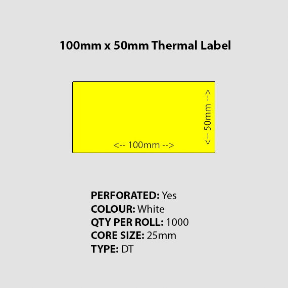 100mm 50mm Perforated Blank Yellow Thermal Label Burratronics Mareeba