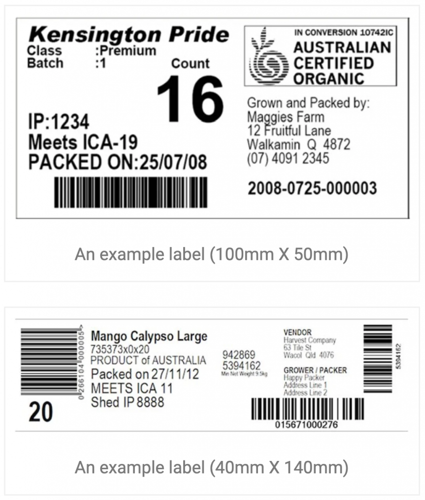 BurraLabel Fruit Traceability System sample mango tray labels